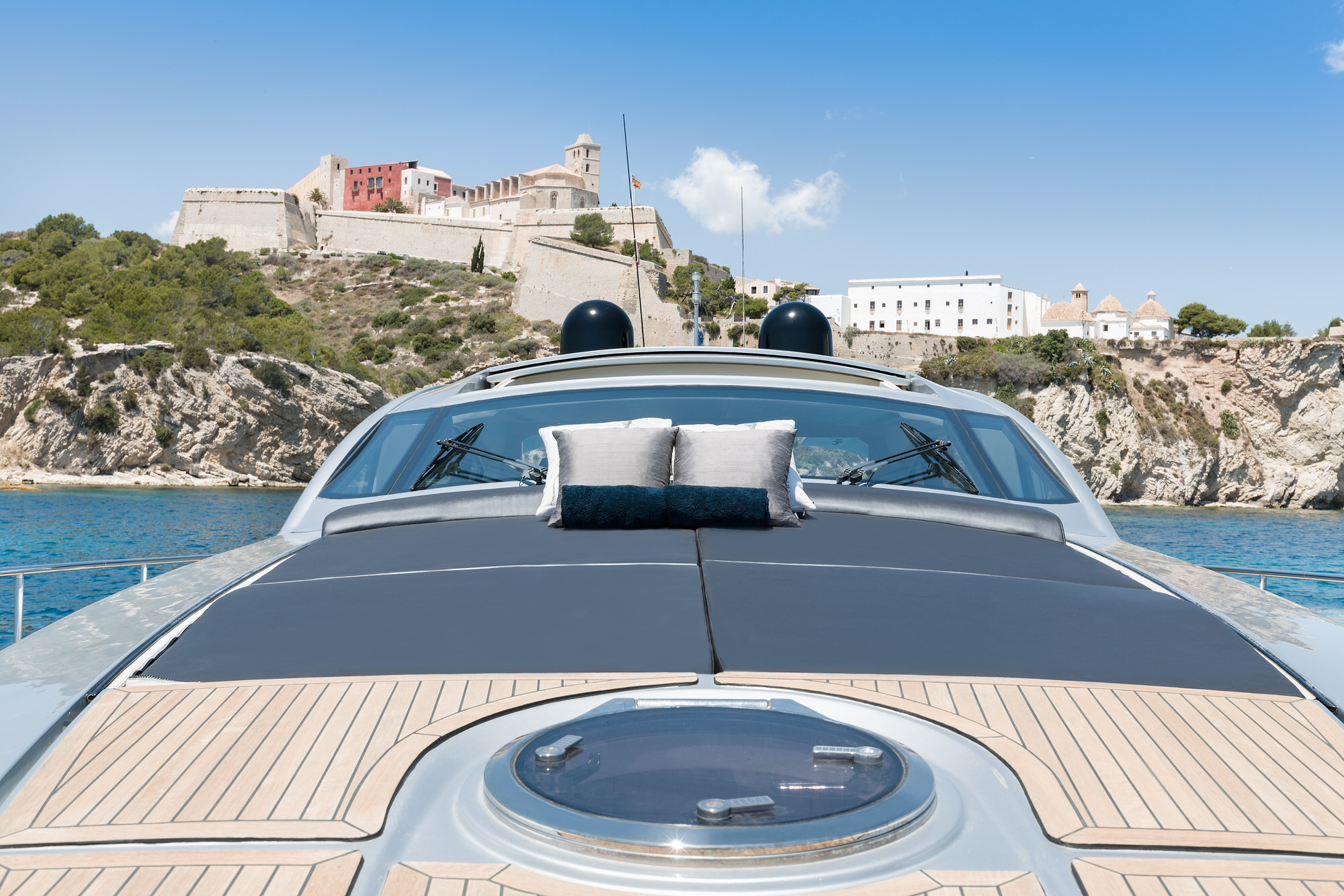 SENSATION-Pershing-Yacht For Charter-Ibiza-Foredeck